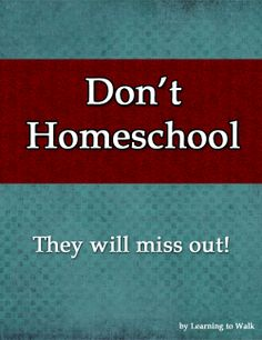 Don't Homeschool! Your Kids Will Miss Out