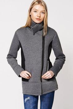Fleece Fishnet Side Panel Asymmetrical Zip-up Jacket In Grey