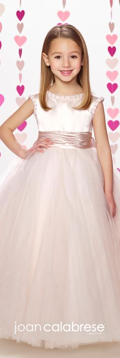 Joan Calabrese for Mon Cheri - Fall 2017 - Style No. 217378 - petal pink satin and tulle long flower girl dress wiith satin waistband and detachable oversized bow at center back