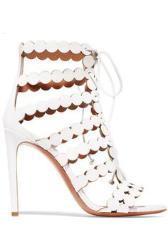 Alaïa - Laser-cut Leather And Suede Sandals - White - IT37.5