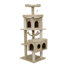 Pawhut Cat Tree Scratcher Post Condo with Hammock, 65 Inch, Beige => Tried it! Love it! Click the image. : Cat Beds and Furniture