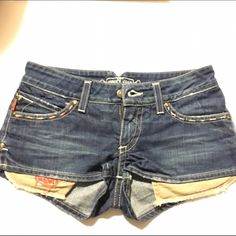 New* Robin's Jean short like new Worn a few times. In excellent condition. Super cute shorts with pretty details and grommets. Front pockets also have detail. Pockets are meant to show like u see in photo. Robyn Lawley Shorts Jean Shorts