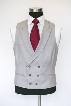Grey Double Breasted Waistcoat with a Burgundy Tie Love the combination