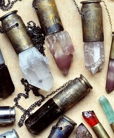 crystals in bullet shells necklaces... way cool!