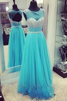 A-Line Beading Tulle Long Prom Dress Evening Dress E70