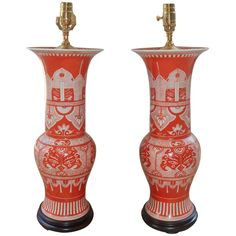 Pair of Iron Red & White Chinese Porcelain Lamps | From a unique collection of antique and modern table lamps at http://www.1stdibs.com/furniture/lighting/table-lamps/