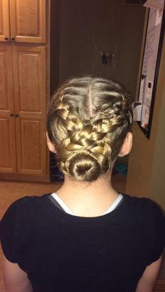Cute bun with double braid twist❤️
