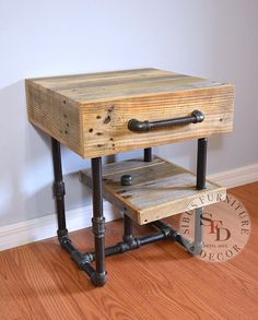 Industrial Nightstand Pallet and Pipes Side by SibusFurniture