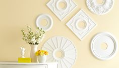 Medallion Wall Art - Hang a variety of ceiling medallions to make a big, bold art statement. Cheap Wall Art, Big Wall Art, Cheap Wall Decor, Unique Wall Decor, Front Room Decor, Living Room Decor, Lowes Creative, Room Paint Colors, Frames On Wall
