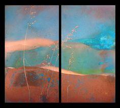 Kismet III - Copperhand Studio - patina with plant negative - patina prairie landscape
