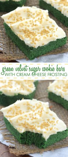 These Green Velvet Sugar Cookie Bars with Cream Cheese Frosting have have the amazing red velvet taste mixed with sugar cookie and could not be easier! So perfect for a Baylor party or tailgate!