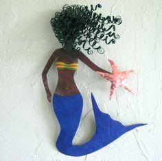Art sculpture - Mystical Mermaid - Wall hanging marine art Repurposed Metal Sculpture