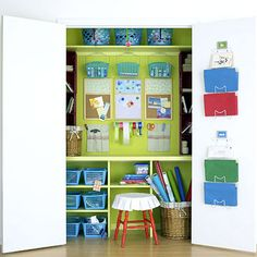 Great looking dollar store craft closet with some good tips!