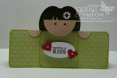 """For the little Nurse  peaking from the card, Deb used the following punches:        Face: 1 3/4"""" Circle Punch      Hands: 3/4"""" Circle Punch cut in half      Hair: Wide Oval Punch (3)      Eyes: Owl Punch      Red Cross Flower: Punch Pack, hand-drawn red cross symbol with Real Red Stampin' Write Marker.  From Deb's Designs.  http://debbiesdesignsblog.blogspot.com/2012/06/saturday-simple.html"""