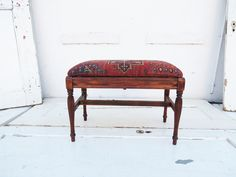Turkish Rug Storage Bench.  Piano Bench upholstered with a vintage rug.