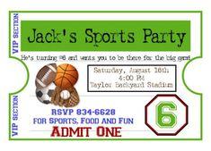 Personalized Sports Invitations, Football, Basketball, Soccer, Baseball, Birthday, Party, Stickers,Favor, Kids, Children, etsykids on Etsy, $1.59