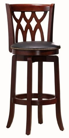 Traditional Wood Swivel Bar Stool w Curved Back, Upholstered Seat & Light Cherry Finish