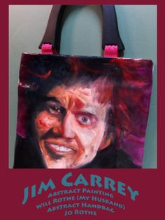 "Jim Carrey Original Painting, Oil Painting, Abstract Art, Portrait On Canvas Painting, Turned To Handbag, Unique Wooden Handle Tote, 12""x12"""