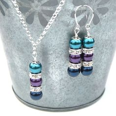LOVE the color combination!! -- Peacock Wedding Jewelry Set, Bridesmaid Jewelry, Pearl Rhinestone Necklace and Earrings Set, Pick Your Own Color