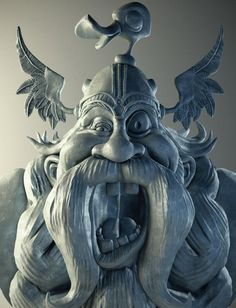 """Weekend sculpt of """"Viking"""" from Loopy Dave 2D concept art."""
