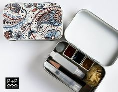 MUTED PRIMARYS - Mini Tri-color Portable Watercolor Palette in Altoid style tins - Travel Sketch box with paint and tools.