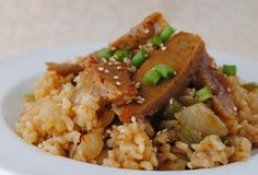 This is (so far at least) my favorite Korean dish! The seitan just soaked up the sweet n' soy flavor from the marinade, then got all crunchy and chewy when I fried it. I even poured some of the mar...
