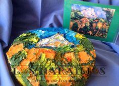 Tarta pintada a mano con espátula y buttercream, inspirada en una Obra de Paul Cezanne