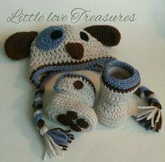 NEW Newborn Baby Boy Puppy Hat and Booties Crochet infant Photo Prop Gift  | eBay