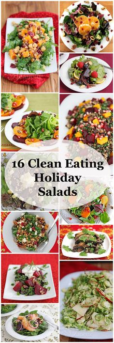 16 Clean Eating Holiday Salads - choose one or more of these healthy salads to round out your holiday spread