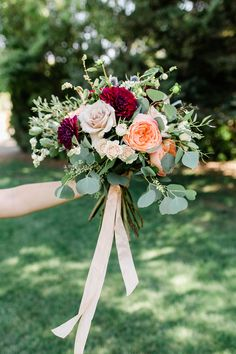 Garden Roses and Eucalyptus Bouquet| Bridal Bouquet | Pink Flowers | Spring Wedding
