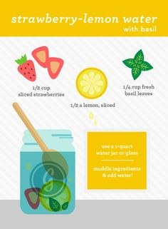 strawberry lemon water /how to make healthy flavored water Yummy Drinks, Healthy Drinks, Get Healthy, Healthy Tips, Healthy Snacks, Healthy Recipes, Healthy Water, Healthy Detox, Infused Water Recipes