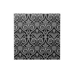 Black & White Vintage Floral Damasks Pattern Ceramic Tiles