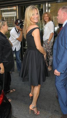 Kate Moss contrasts a ladylike LBD with fun and vibrant pumps.