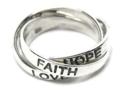 Russian Wedding Ring 3 Bands Sterling Silver Love Faith Hope Puzzle Trinity Knot