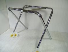 Retro Chrome Silver Metal & Grey Canvas Fabric Luggage Rack
