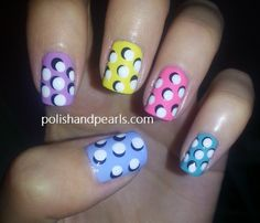 Polka Dots I love missjenfabulous. Her nail designs are so easy and super adorable Dot Nail Art, Polka Dot Nails, Polka Dots, Pearl Nail Art, Pearl Nails, Love Nails, Pretty Nails, Fun Nails, Acrylic Nail Designs