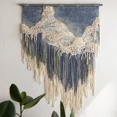 Woven wall hanging large – Weaving wall hanging blue – Bedroom and living room wall art – Biomorphic woven wall art – Becky Lewins – weberei Weaving Wall Hanging, Weaving Art, Tapestry Weaving, Tapestry Wall Hanging, Fabric Wall Hangings, Fabric Wall Art, Country Bedroom Design, Purple Weave, Modern Tapestries