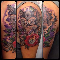 Wolf neotraditional tattoo By Juan David Castro R