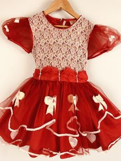 24aa449d91 Details about Vintage Girls Dress Party Dress Sheer Bows Ruffles Sequins  Lace Full Circle 7