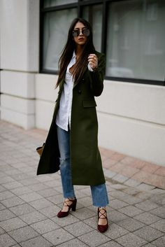 veronica beard green winter voyager faux double breasted coat levis kick flare celine bag fashion blogger kayla seah outfit streetstyle quay high key aviators  giuseppe zanottie tied up heels