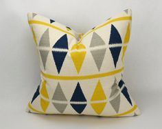 20 Inch Pillow Cover - Navy Blue, Gray, Yellow, Natural Argyle Birch Stripes and Diamonds Ikat. $24.00, via Etsy.