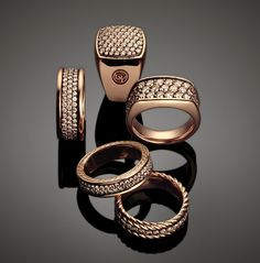 This masculine collection features rose gold, pave diamonds, cognac diamonds and its signature cable band motif.