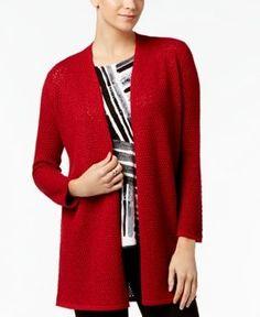 Alfani Petite Metallic Textured Cardigan, Created for Macy's - Red P/XL