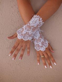Wedding Glove //  white lace gloves Fingerless by WEDDINGGloves, $25.00