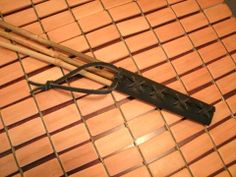 Triple Bamboo Cane with Black Leather Handle by ArtzyMynd on Etsy