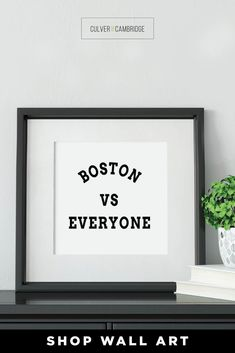 Culver and Cambridge's Minimalist Boston vs Everyone Print. Our black and white sports print is a bold, modern art touch featuring your favorite city! Geography prints make a great pair or a set of three or four to celebrate all your favorite places. Our city prints and state posters also make perfect housewarming gifts and going away gifts! || culverandcambridge.com || Boston vs Everybody, Boston Poster || #poster #artprint #walldecor Dining Room Wall Decor, Office Wall Decor, Bathroom Wall Decor, Wall Art Decor, Poster Poster, Posters, Boston Wall Art, Office Prints, Black And White Prints