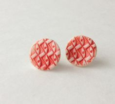 Red Geometric Patterned Post Earrings by HelloHeyYo on Etsy, $10.00