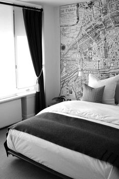 black + white bedroom | map wall of Paris