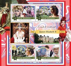 Post stamp Maldives MLD a Longest Reigning Queen Elizabeth II (Queen Elizabeth II with her two children, George VI Queen Elizabeth II in Arctic, Mother Teresa George Vi, Mother Teresa, Second Child, Queen Elizabeth Ii, Postage Stamps, Reign, Arctic, Postcards, Coins