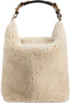 Marni Shearling Hobo Bag in Beige (Natural) - Lyst